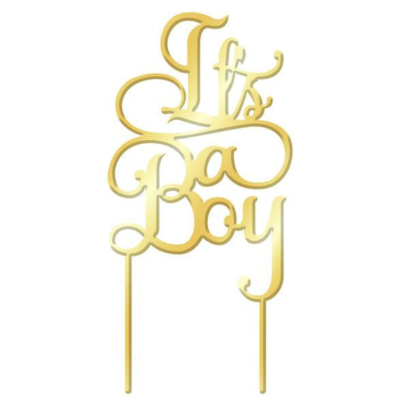 IT'S A BOY Gold Mirror Acrylic Cake Topper