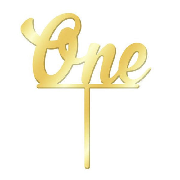 Number ONE Gold Mirror Acrylic Cake Topper