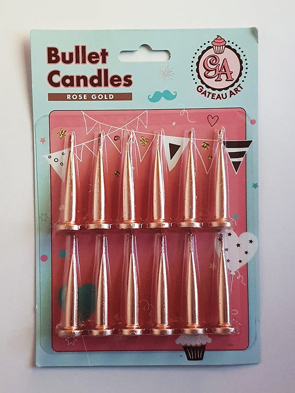 Bullet Candles - Rose Gold (12 pack)