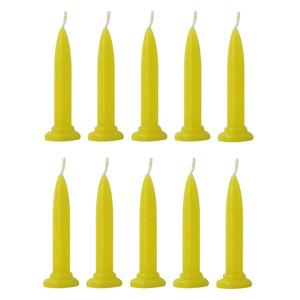 Yellow Bullet Candles - set of 10