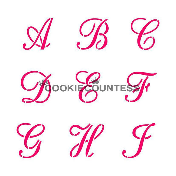 Script Alphabet Letter cookie stencil set