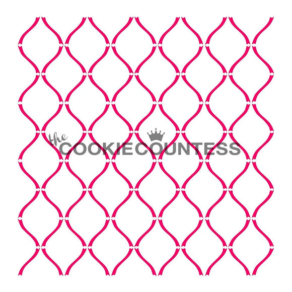 Curvy Lattice cookie stencil
