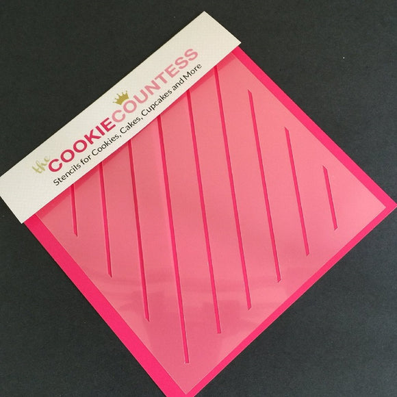 Diagonal Thin Stripe cookie stencil