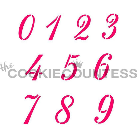 Script Numbers cookie stencil
