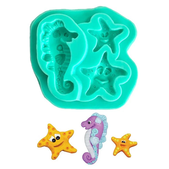 Silicone Mould - SEA HORSE & STARFISH