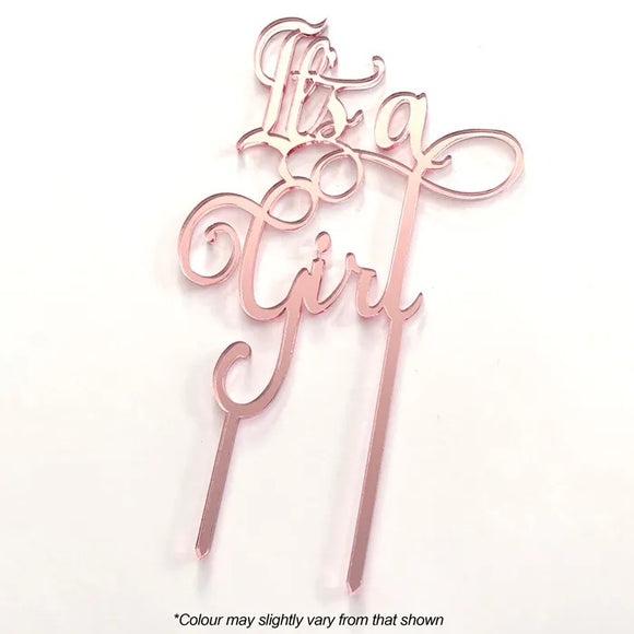 IT'S A GIRL Rose Gold Mirror Acrylic Cake Topper