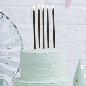 Tall Black Cake Candles 12cm (Pack of 12)