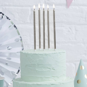 Tall Silver Cake Candles 12cm (Pack of 12)