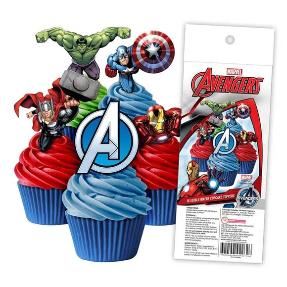 THE AVENGERS Edible Wafer Paper Cupcake Toppers - 16 pack