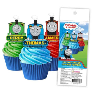 THOMAS THE TANK ENGINE Edible Wafer Paper Cupcake Toppers - 16 pack