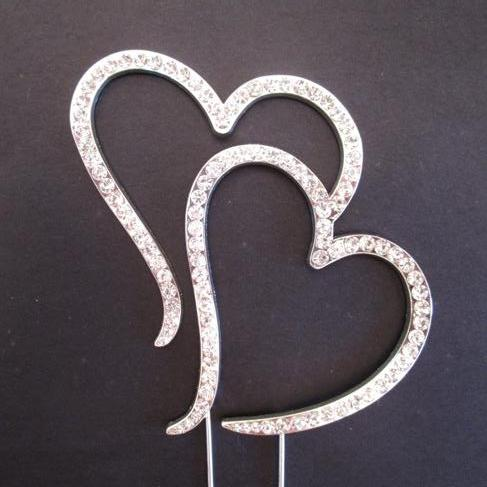 DOUBLE HEART Diamante Cake Pick Topper Decoration