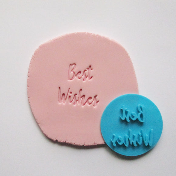 BEST WISHES fondant embosser / cookie stamp