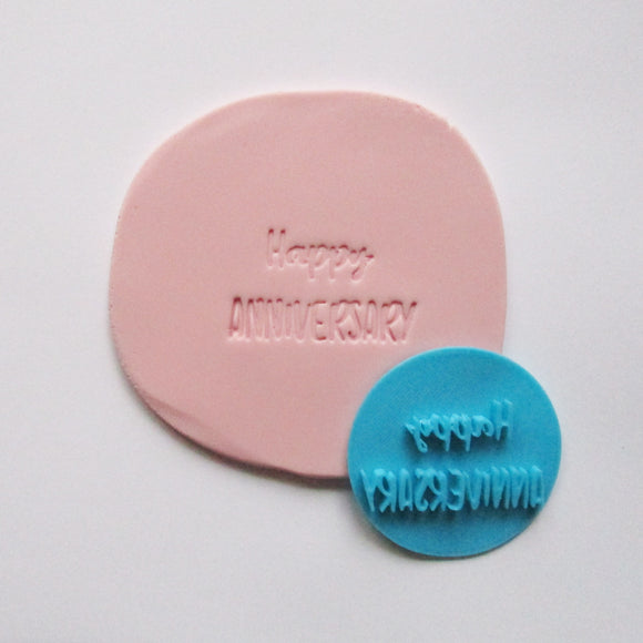 HAPPY ANNIVERSARY fondant embosser / cookie stamp