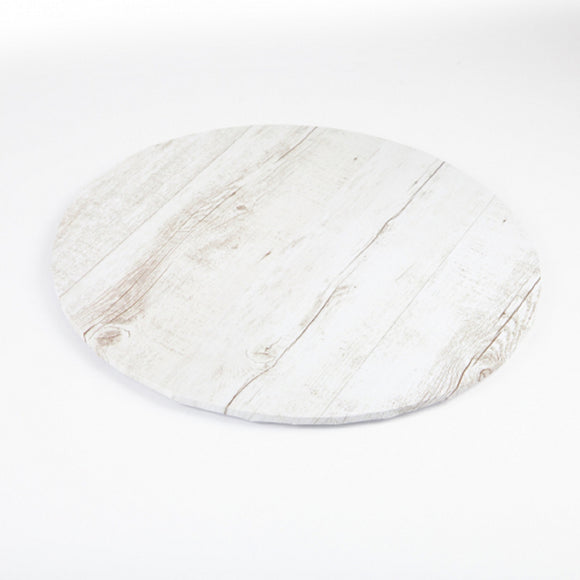 White Wood/Timber Effect Round Cake Board 25cm (10 inch)
