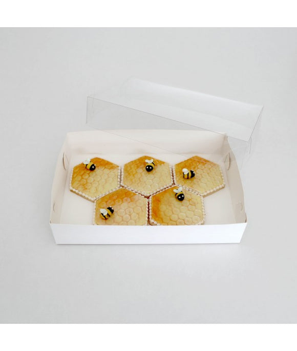 Biscuit Box Rectangle with Clear Lid 25x17cm (10x7x2 inch) - 10 pack