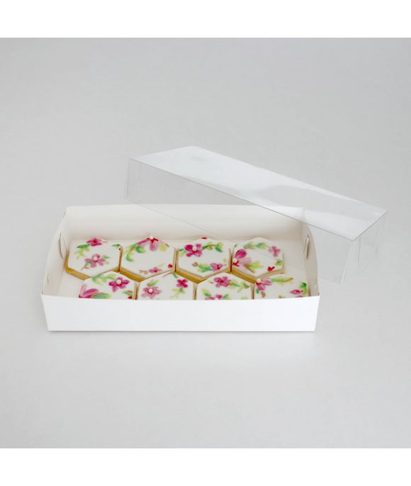 Biscuit Box Rectangle with Clear Lid 22x11cm (9x4.5x1.5 inch) - 10 pack