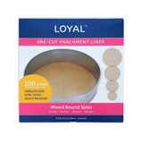 Loyal Pre-cut ROUND Cake Tin liner paper – mixed sizes – 100 sheets