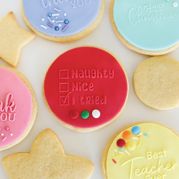 Sugar Crafty NAUGHTY, NICE, I TRIED Pop / Embosser Stamp