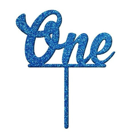 Number ONE Blue Glitter Acrylic Cake Topper