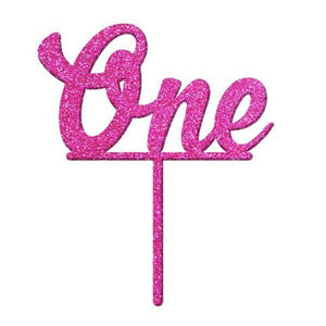 Number ONE Pink Glitter Acrylic Cake Topper