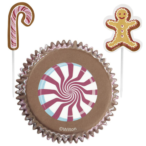 Wilton Gingerbread Cottage Cupcake Cup and Pick Combo set