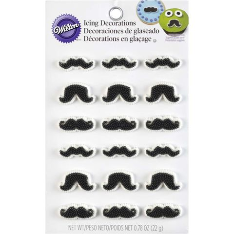 Wilton Moustache Edible Icing Cupcake Decorations (18 pack)