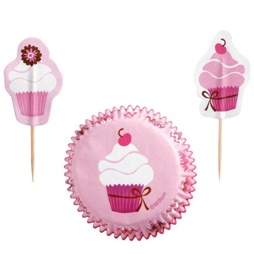 Wilton Party Pink Cupcake and Pick combo set