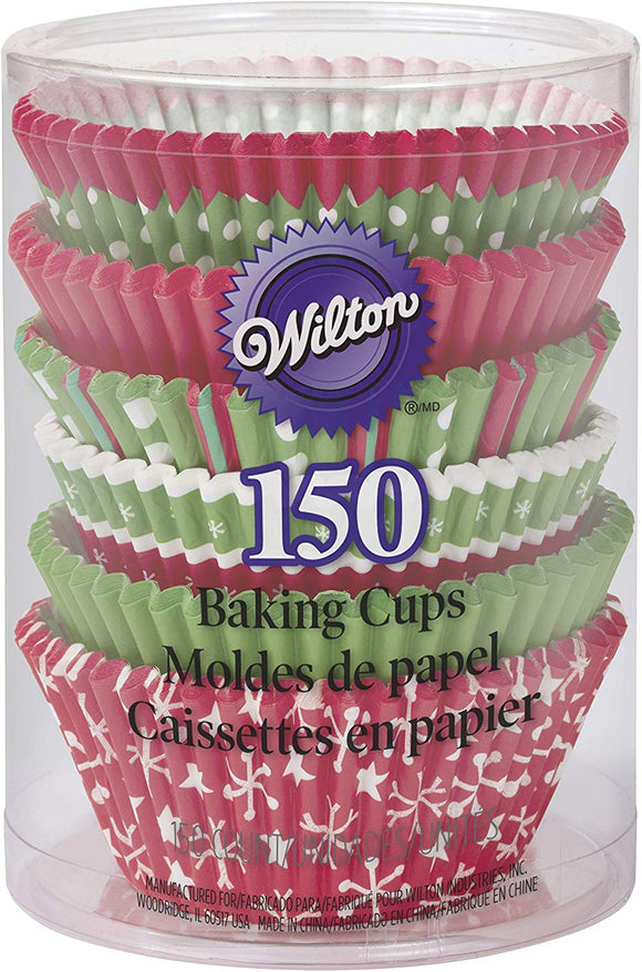 Wilton Christmas Holiday Traditional Cupcake Baking cups (150 pack)