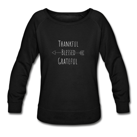Thankful Blessed abd Grateful Women's Crewneck Sweatshirt - black
