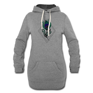 Peacock Feather Women's Hoodie Dress - heather gray