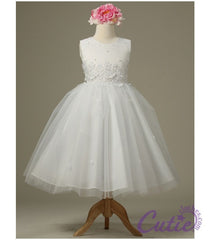 White Flower Girl Dress - 1098