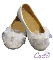White Flower Girl Shoes - boo-52WHT