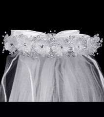 Girls Flower Rhinestone Veil - T24