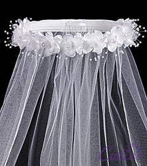 Girls Flower Pearl Veil - T4