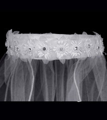 Girls Flower Rhinestone Veil - T41