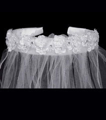 Girls Rhinestone Headband Veil - T43