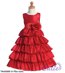 Red Flower Girl Dress - BL203