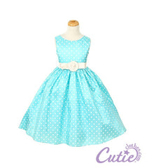 Aqua Flower Girl Dress - 1097