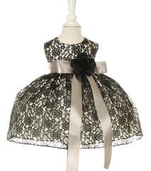 Black/Silver Lace Baby Dress - 1132B