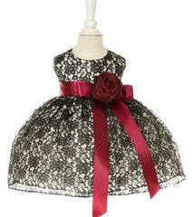 Black/Wine Lace Baby Dress - 1132B