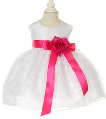 White/Fuchsia Lace Baby Dress - 1132BW