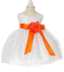White/Orange Lace Baby Dress - 1132BW