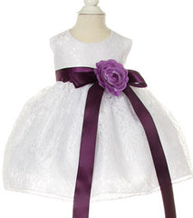 White/Purple Lace Baby Dress - 1132BW