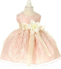 Peach/Ivory Lace Baby Dress - 1132BP