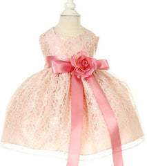 Peach/Rose Lace Baby Dress - 1132BP