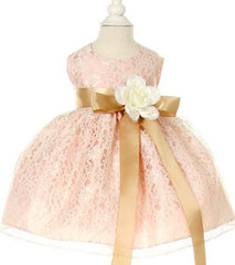 Peach/Toffee Lace Baby Dress - 1132BP