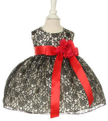 Black/Red Lace Baby Dress - 1132B