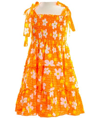 Girls Orange Flower Dress-717.02