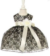 Black/Ivory Lace Baby Dress - 1132B