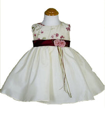 Ivory/Burgundy Girls Dress - 0228